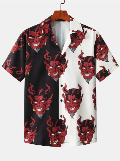 Two Tone Devil Pattern Shirt - أسود M Mobile