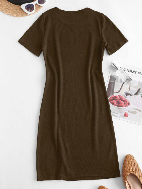best Slit Ribbed Casual Mini Dress - DEEP COFFEE M Mobile