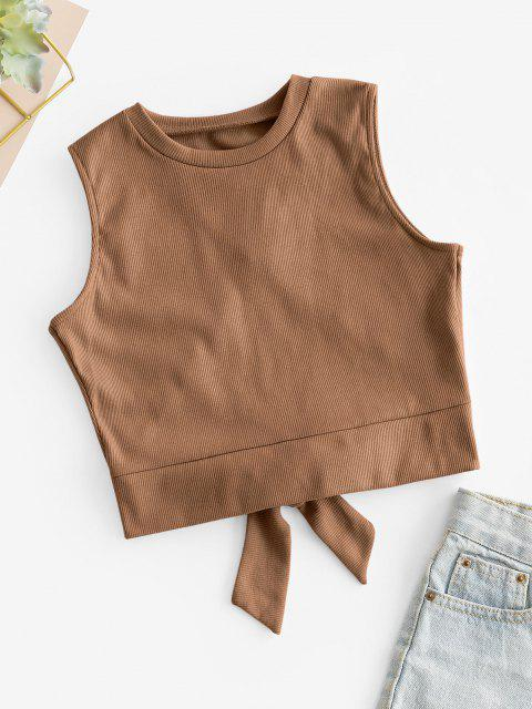 Overlap Knotted Crop Tank Top - قهوة S Mobile