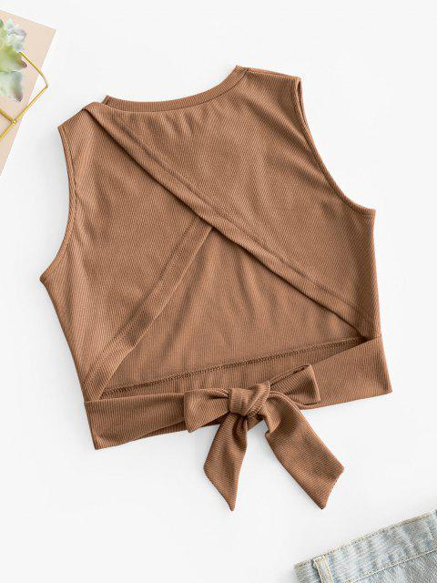 chic Overlap Knotted Crop Tank Top - COFFEE M Mobile