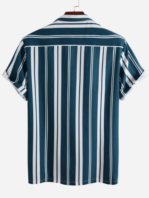 outfit Short Sleeve Contrast Stripe Button Up Shirt - MULTI 2XL Mobile