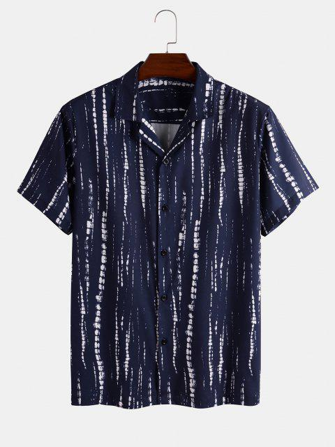 fashion Tie Dye Striped Shirt And Shorts Two Piece Set - DEEP BLUE 3XL Mobile