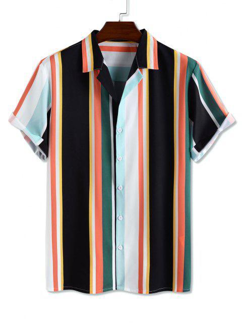 women Colorblock Stripe Short Sleeve Shirt - MULTI XL Mobile