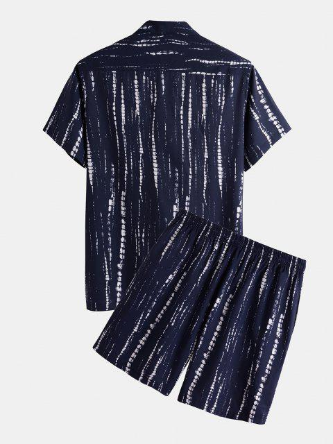 affordable Tie Dye Striped Shirt And Shorts Two Piece Set - DEEP BLUE S Mobile