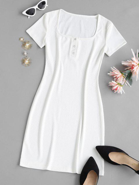 women's Ribbed U Neck Snap Button Tee Dress - WHITE L Mobile