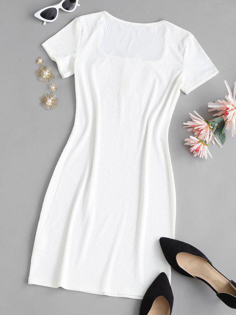 Geripptes U Ausschnitt Druckknopf T-Shirt Kleid - Weiß S Mobile
