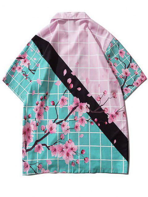 Blumen Kariertes Farbblock Hemd - Seiden Blau S Mobile