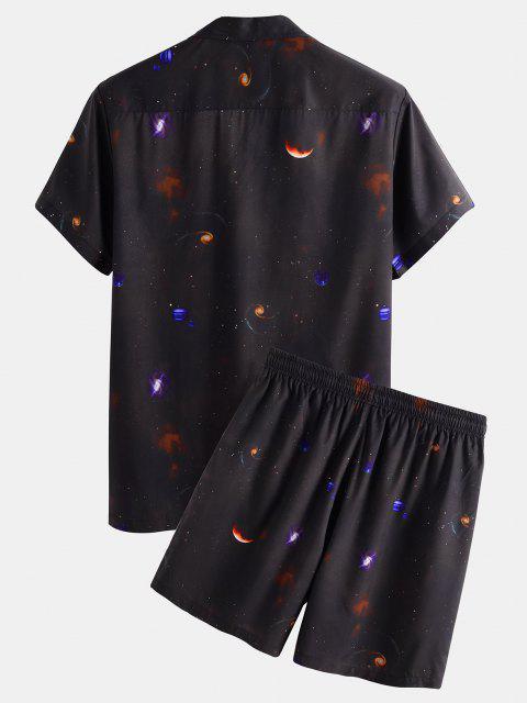 trendy Planet Galaxy Short Sleeve Shirt And Shorts Set - BLACK S Mobile