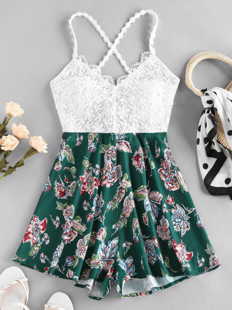 outfit ZAFUL Guipure Flower Criss Cross Wide Leg Romper - DEEP GREEN M Mobile