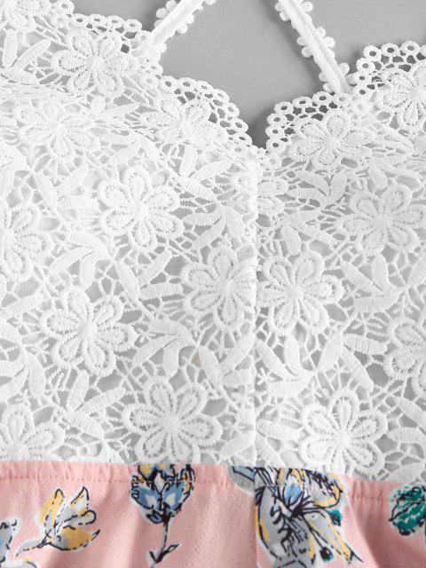 outfits ZAFUL Guipure Flower Criss Cross Wide Leg Romper - LIGHT PINK M Mobile