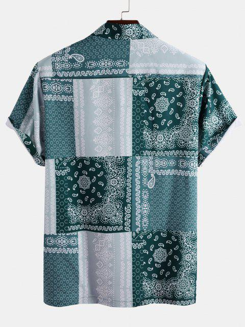 latest Bandana Patchwork Short Sleeve Shirt - LIGHT BLUE 2XL Mobile