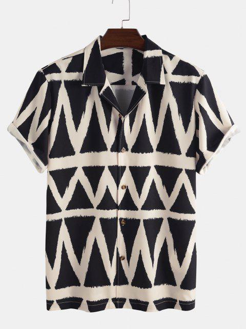 Geometrisches Muster Kurzarm Hemd - Schwarz S Mobile