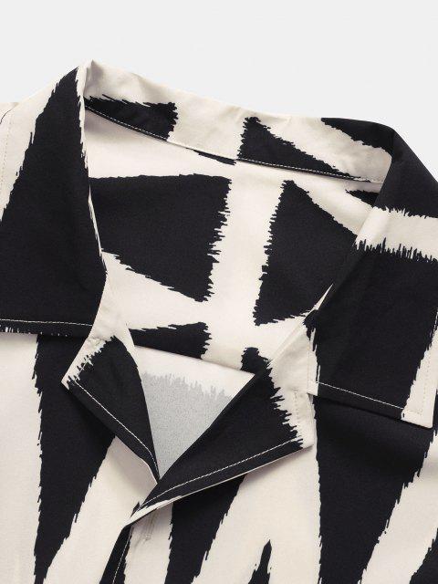 trendy Geometric Pattern Short Sleeve Shirt - BLACK 2XL Mobile