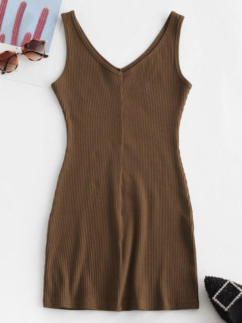 chic Double V Ribbed Tank Dress - COFFEE S Mobile