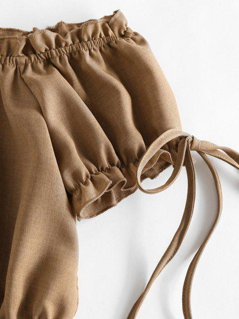 lady ZAFUL Off Shoulder Ruffle Mock Button Crop Blouse - LIGHT COFFEE XL Mobile