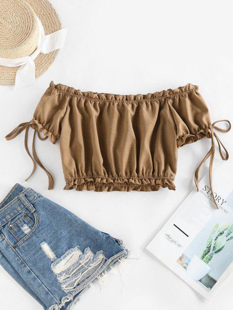 outfit ZAFUL Off Shoulder Ruffle Mock Button Crop Blouse - LIGHT COFFEE S Mobile