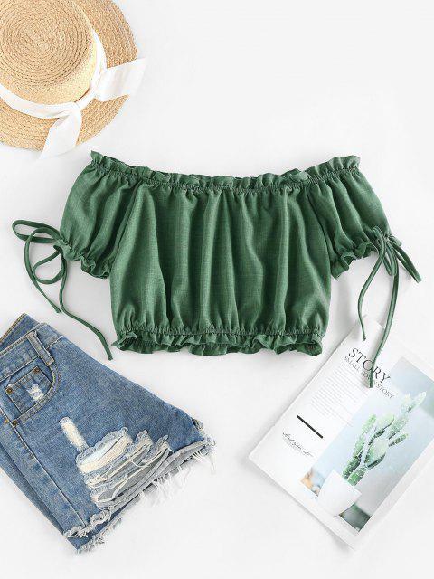 shops ZAFUL Off Shoulder Ruffle Mock Button Crop Blouse - DEEP GREEN M Mobile