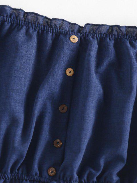 trendy ZAFUL Off Shoulder Ruffle Mock Button Crop Blouse - DEEP BLUE XL Mobile