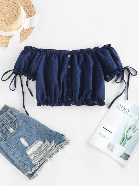 trendy ZAFUL Off Shoulder Ruffle Mock Button Crop Blouse - DEEP BLUE XL Mobile