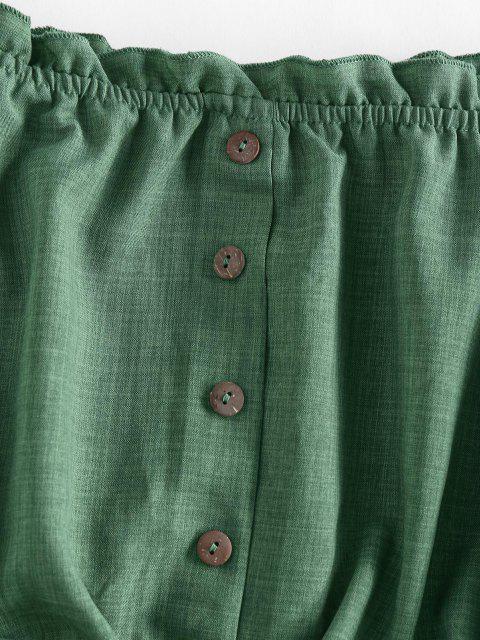 sale ZAFUL Off Shoulder Ruffle Mock Button Crop Blouse - DEEP GREEN S Mobile