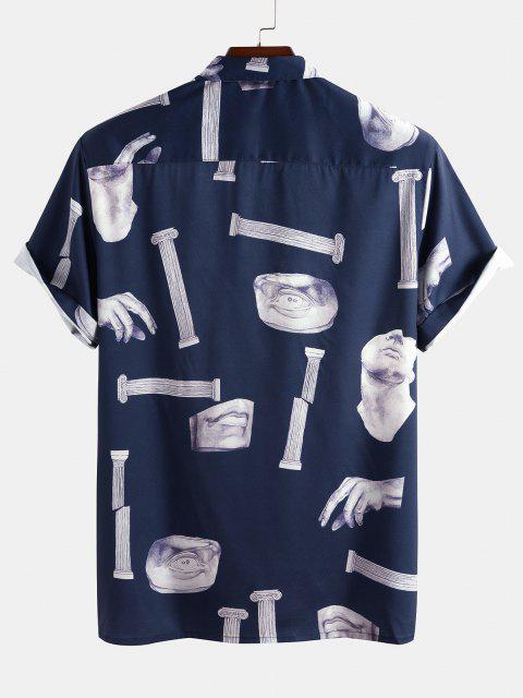 online Broken Sculpture Pattern Pocket Shirt - DEEP BLUE XL Mobile