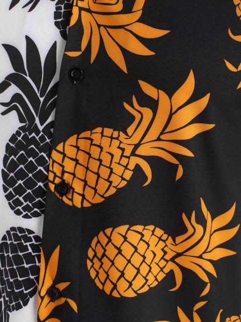 hot Two Tone Pineapple Vacation Shirt - BLACK S Mobile