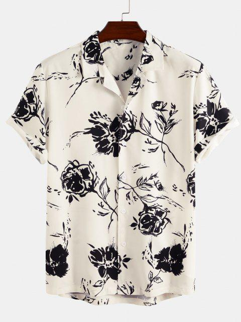 outfits Short Sleeve Rose Shirt - WHITE 2XL Mobile