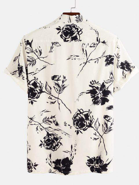 trendy Short Sleeve Rose Shirt - WHITE S Mobile