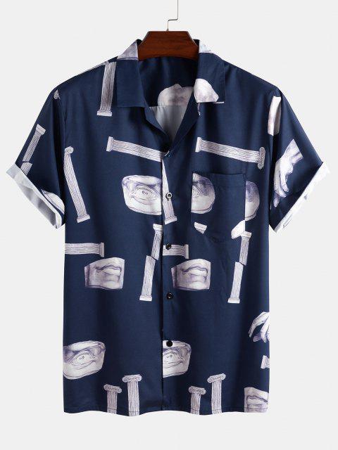 Skulptur Muster Knopf Taschen Hemd - Tiefes Blau 2XL Mobile