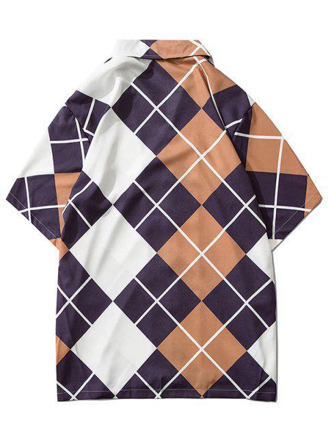 ladies Contrast Geometric Print Short Sleeve Shirt - WOOD M Mobile