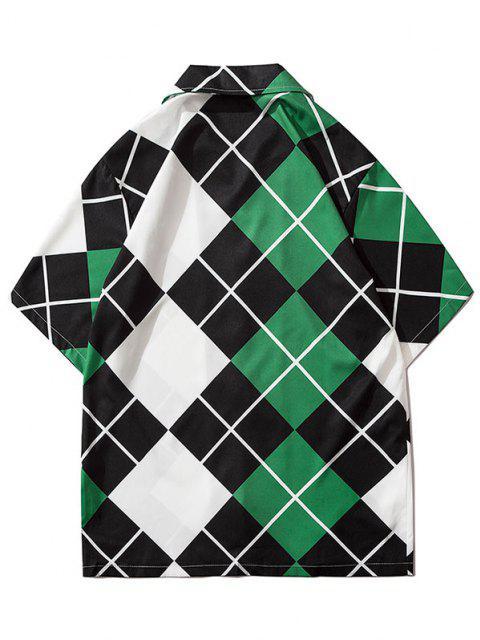 Contrast Geometric Print Short Sleeve Shirt - متوسطة البحر الخضراء 2XL Mobile