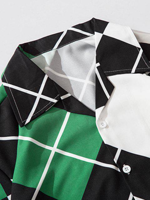 fashion Contrast Geometric Print Short Sleeve Shirt - MEDIUM SEA GREEN 2XL Mobile