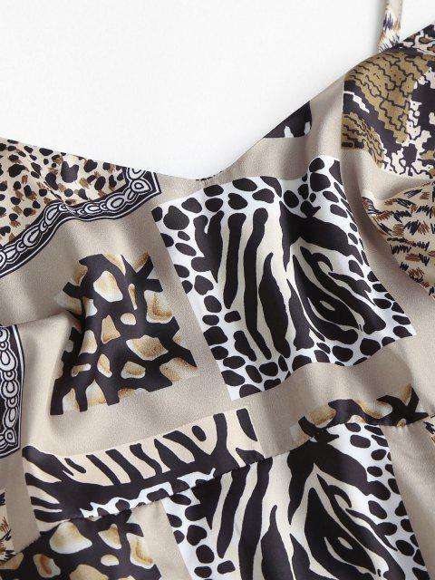 outfits Zebra Leopard Smocked Back Mini Dress - LIGHT COFFEE S Mobile