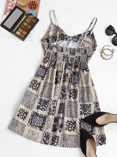 Mini Vestido Cebra y Estampado Leopardo en Espalda - café luz XS Mobile