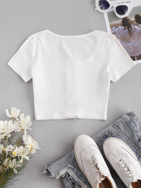 women Ribbed Snap Button Henley Crop Tee - WHITE S Mobile