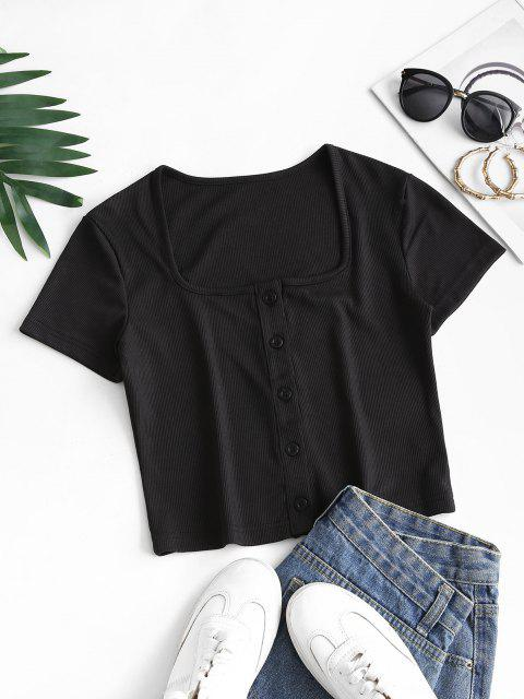 outfits Ribbed Snap Button U Neck Crop Te - BLACK M Mobile