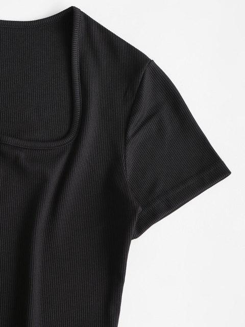 Pantaloncini Corti a Coste con Bottoni Automatici e Scollo a U - Nero S Mobile