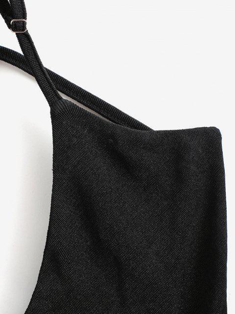 넥타이 오픈 뒷면 Cinched Jersey Cami Top. - 검정 미디엄 Mobile