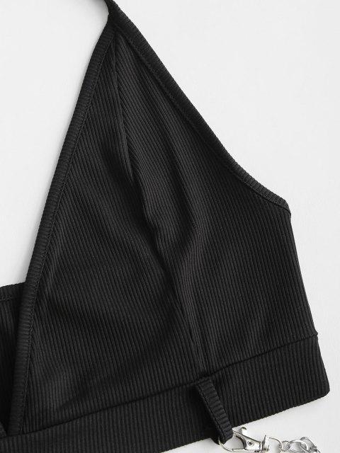 hot Ribbed Halter Tie Chains Crop Top - BLACK L Mobile