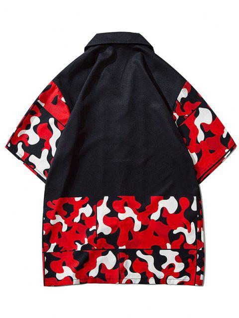 Camouflage Pattern Short Sleeve Shirt - الحمم الحمراء 2XL Mobile