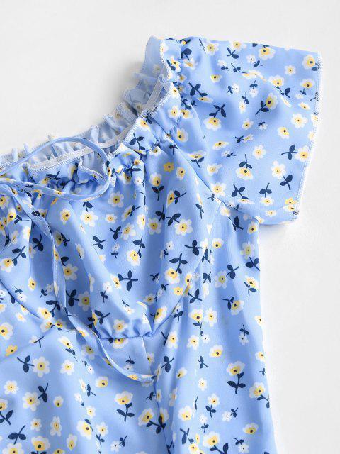 unique Floral Ruffle Bowknot Mini Dress - LIGHT BLUE S Mobile
