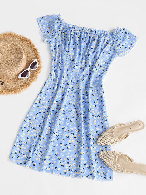 outfits Floral Ruffle Bowknot Mini Dress - LIGHT BLUE L Mobile
