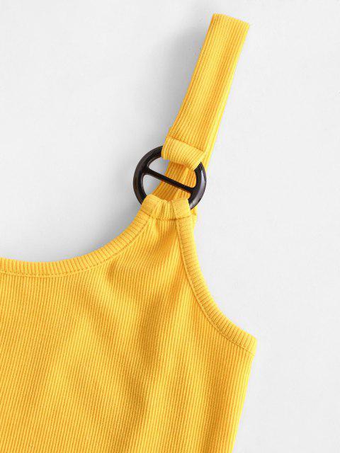 Débardeur Ajusté Côtelé Anneau en O - Deep Yellow L Mobile