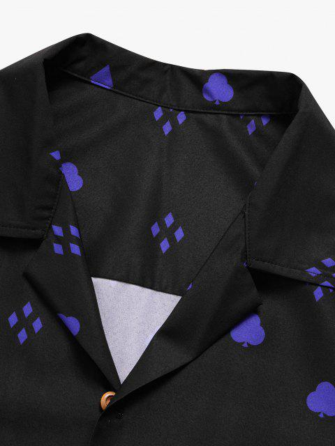 trendy Fire Flame Geometric Button Up Shirt - BLACK S Mobile