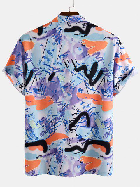best Short Sleeve Graffiti Shirt - LIGHT BLUE XL Mobile