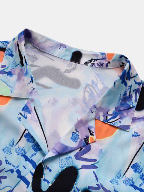 outfits Short Sleeve Graffiti Shirt - LIGHT BLUE S Mobile