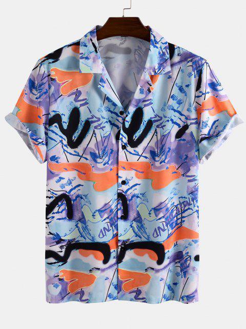 fancy Short Sleeve Graffiti Shirt - LIGHT BLUE 3XL Mobile