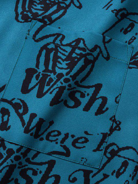 women's Wish You Were Here Elf Print Short Sleeve Shirt - BLUE S Mobile