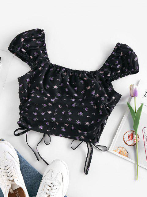 latest ZAFUL Puff Sleeve Tiny Floral Print Cinched Cropped Blouse - BLACK L Mobile