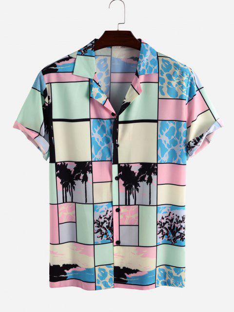 Colorblock Patchwork Palm Tree Vacation Shirt - متعدد L Mobile